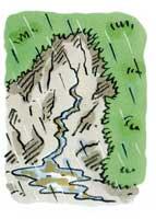 がけから急に水がわき出る<br>わき水の量が急に増えたり<br>ふき出したり急に止まったりする<br>水がにごる