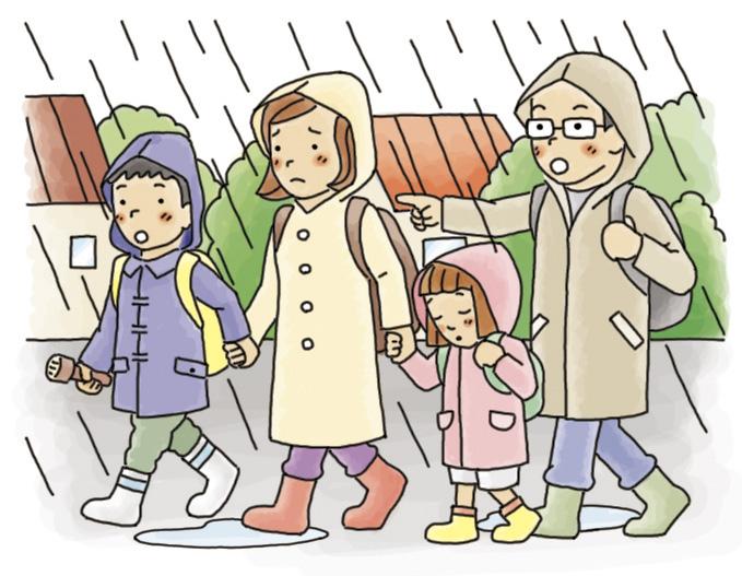 家族と一緒に避難する