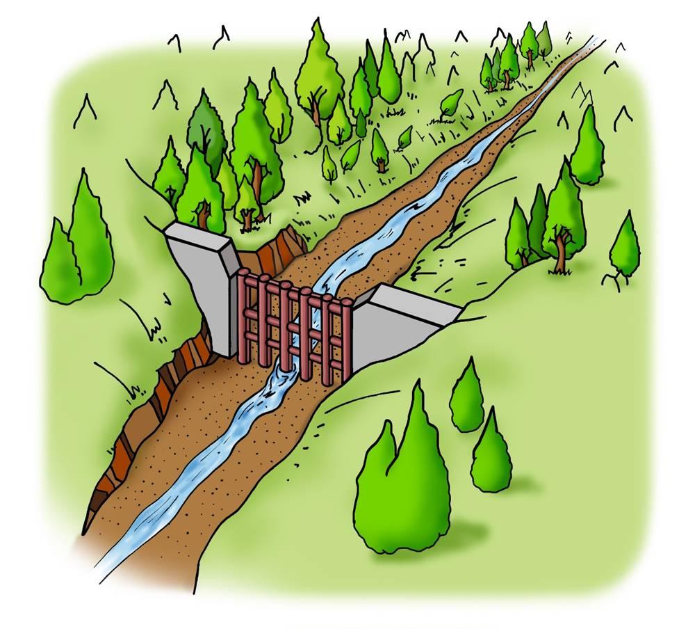 <b>A.透過型砂防堰堤が土石流をとらえる働き</b><br>②透過型砂防堰堤を設けた場合でも、普段は、水と土砂は同じように下流に流れていきます。