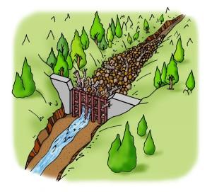 A.透過型砂防堰堤が土石流をとらえる働き③大雨が降り土石流が発生したとき、大きな岩、流木などを含む土砂は、堰堤に引っかかり止まります。