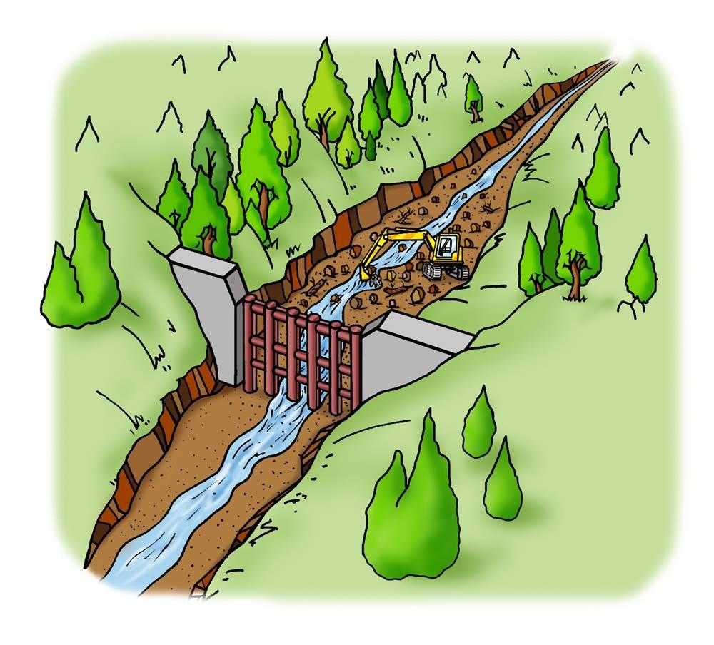 <b>A.透過型砂防堰堤が土石流をとらえる働き</b><br>④堰堤にたまった岩、土砂や流木は、次の土石流に備えて取り除きます。<br>