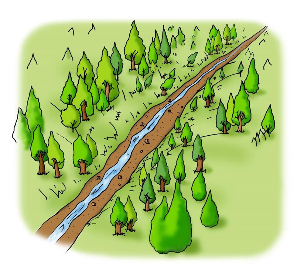 <b>B.不透過型砂防堰堤が土石流をとらえる働き</b><br>①川(渓流)ではいつも、水と一緒に土砂も流れていきます。