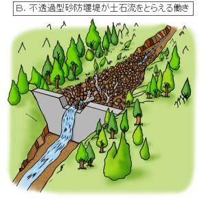 ③大雨が降り土石流が発生したとき、堰堤は大きな岩や、流木などを含む土砂をため、下流への被害を防ぎます。