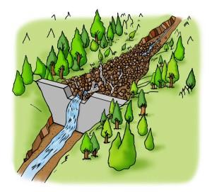 B.不透過型砂防堰堤が土石流をとらえる働き③大雨が降り土石流が発生したとき、堰堤は大きな岩や、流木などを含む土砂をため、下流への被害を防ぎます。